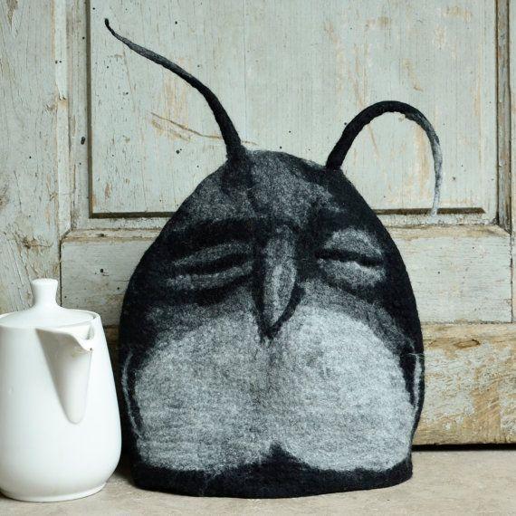 Owl Tea cozy felted teapot cosy Wool teapot cosy Art tea by jannio