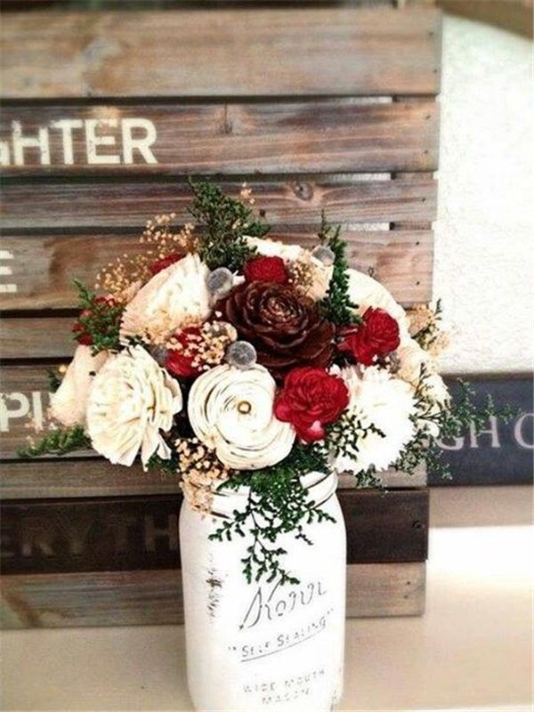 White And Red Winter Wedding Bouquet