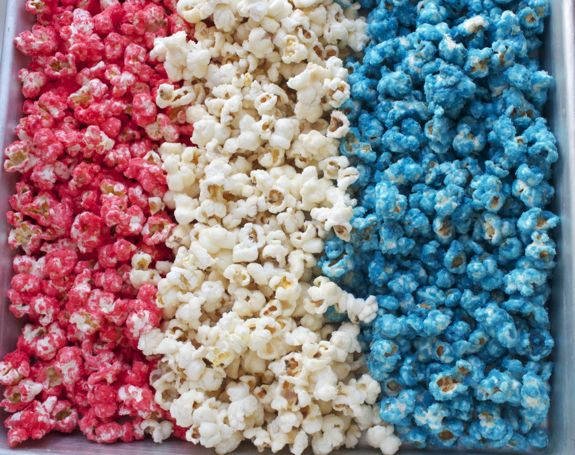 Red, White & Blue Candied Popcorn/ you could do this in colors to match the season or holiday!