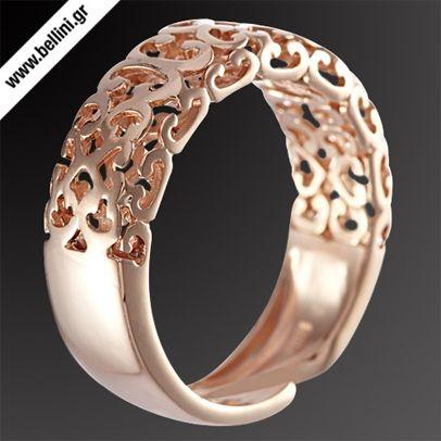 Κομψό με έμφαση στην λεπτομέρεια! Δαχτυλίδι από ροζ επιχρυσωμένο ασήμι 925