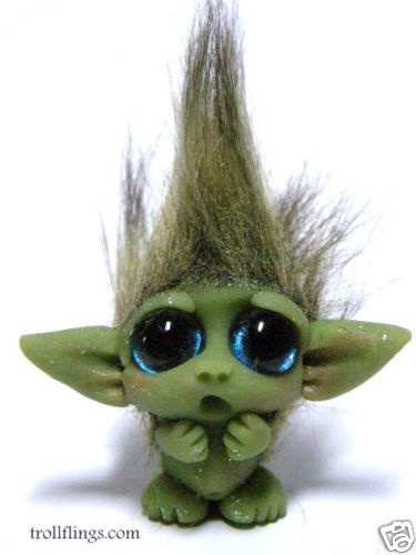 """OOAK Tiny Goblin Trollfling Troll doll """"Twinkle"""" by Amber Matthies"""