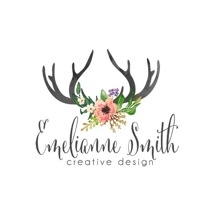 Floral and Antler Logo Design Watercolor Antlers by SacredWilde