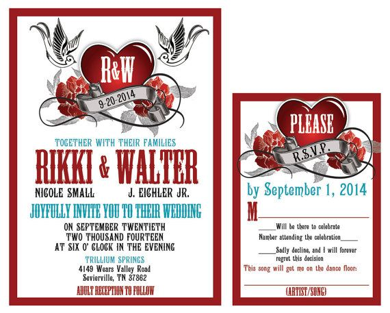Rockabilly Wedding Invitation Set With Sparrow By Mybigdaydesigns