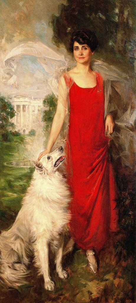 The official White House portrait of First Lady Grace Coolidge with her dog Rob Ro by Howard Chandler Christy