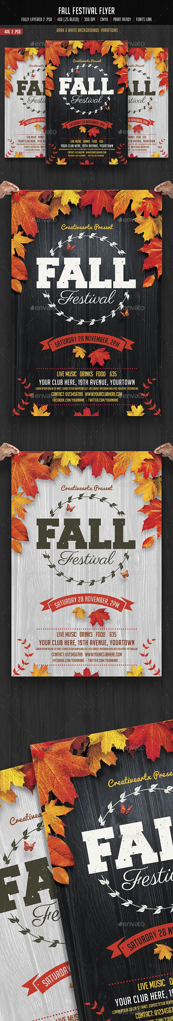Fall Festival Flyer Template PSD. Download here: https://graphicriver.net/item/fall-festival-flyer/17495360?ref=ksioks