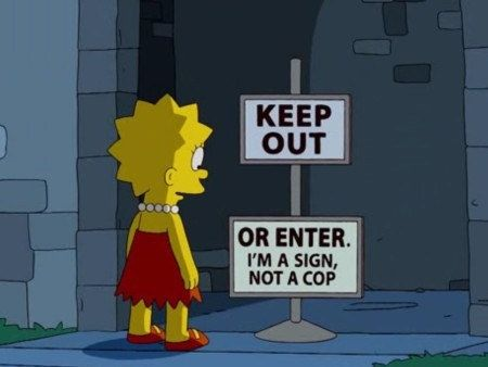 "When Lisa stumbled upon the best sign ever. | 27 Times ""The Simpsons"" Was Too Clever For Its Own Good"