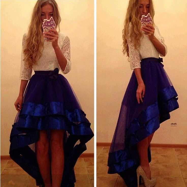 Sexy Prom Dresses Three Quarter Sleeves White Lace Royal Blue Tulle Cheap 2016 Long Prom Party Dresses High Low Formal Occasio-in Prom Dresses from Weddings & Events on Aliexpress.com | Alibaba Group
