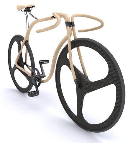 ロンドンデザイナー Andy Martin がデザインした木製のロードバイクです。曲木の椅子で有名なドイツのトーネット社が作製を手掛けています。 車輪はカーボンファイバーでブレーキなしです。北米特有の逆回転ブレーキでしょうか?...