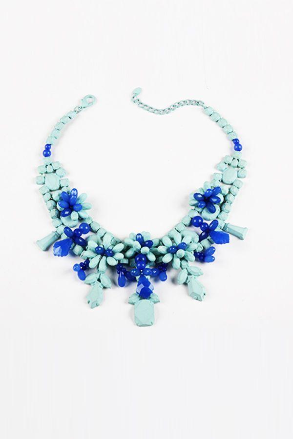Colier bleu cu albastru Flowers - Z ACCESSORIES