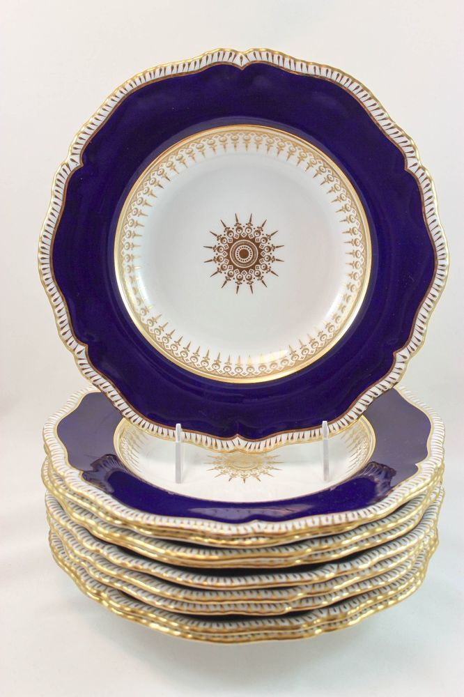ANTIQUE SET 10 COPELAND SPODE CHINA 8293 LARGE RIM SOUP BOWLS COBALT GOLD WHITE #CopelandSpodeEnglandFineChina8293