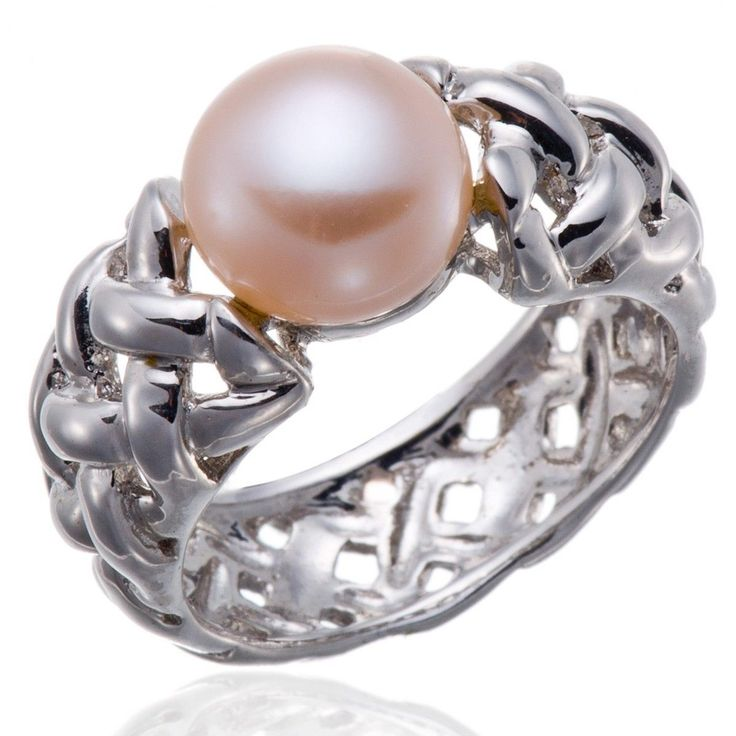 Fashion Pink Freshwater Cultured Pearl Solid Sterling Silver 925 Ring (9-10Mm)