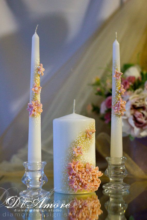 BLUSH PINK & GOLD Wedding unity candles from the от DiAmoreDS