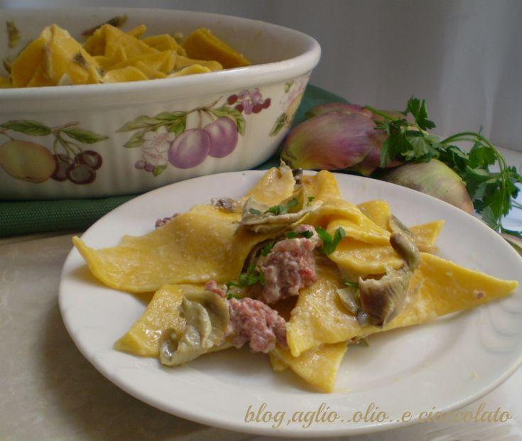 pasta fresca maltagliata con carciofi
