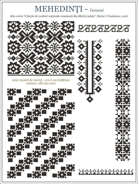 Iie (traditional romanian blouse) from Mehedinti embroidery pattern www.semne-cusute.blogspot.com