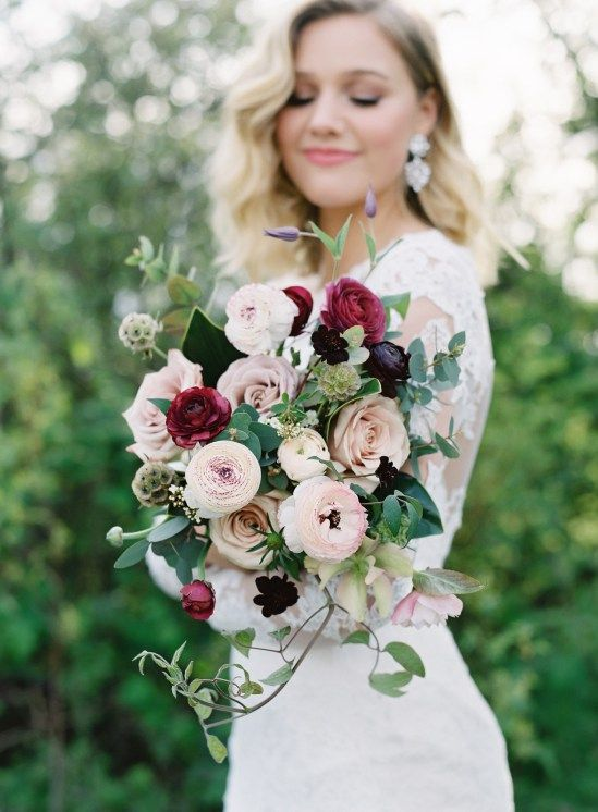 Purple Magnolia Floral Design Blush, dusty pink, plum, burgundy bouquet with ranunculus, Quicksand roses, clematis, scabiosa