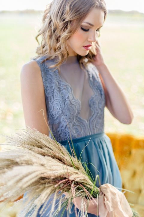 Lace Plunge Neckline Wedding Dress in Slate Blue