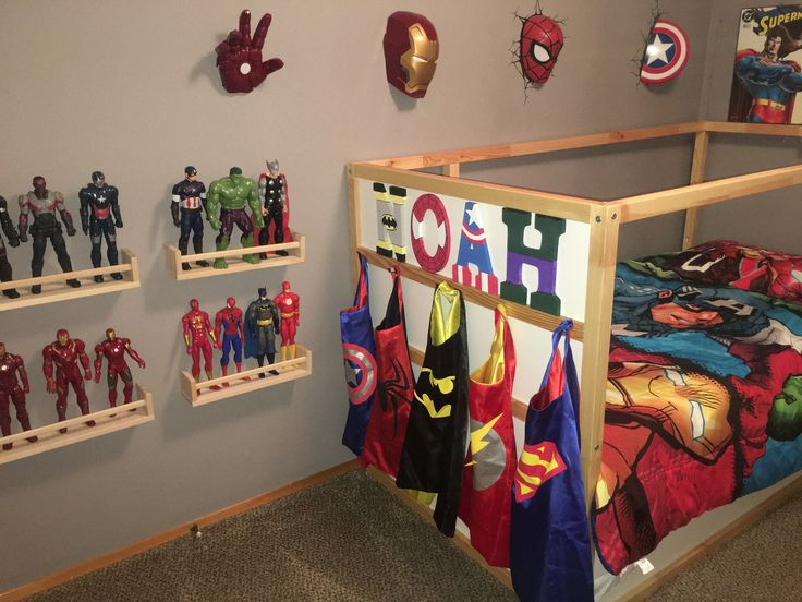 Superhero toddler boy bedroom Batman superman flash Spider-Man hulk Thor captain America iron man marvel avengers ikea hack