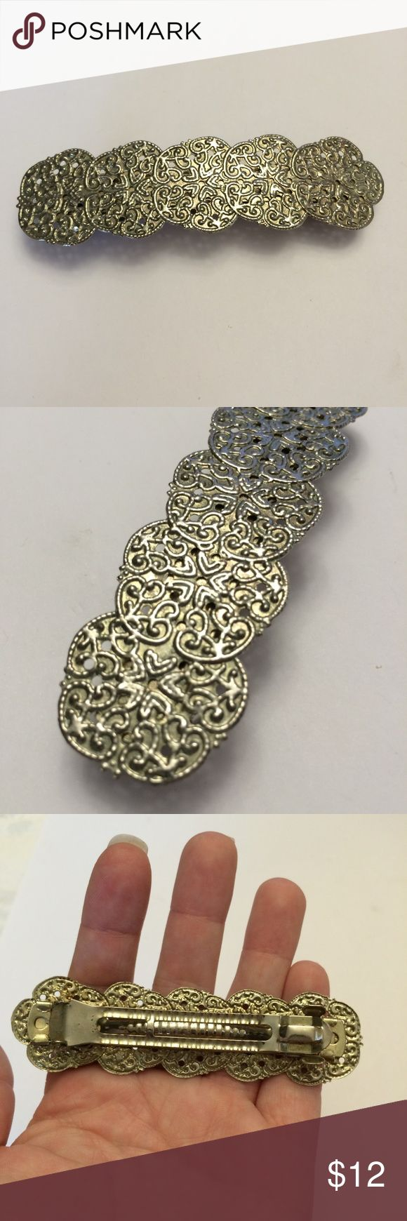 Elegant Vintage Silver tone hair clip Vintage Hair Clip.  In good condition. Normal wear for age. Please refer to my pictures! Vintage Accessories Hai...