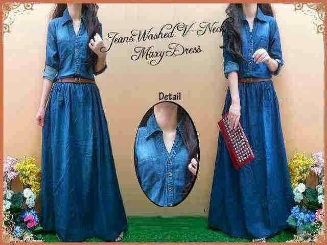Maxy jeans Rp. 125.000 washed kerah + belt, bahan 100_ jeans. LD 94, Pjg 134.