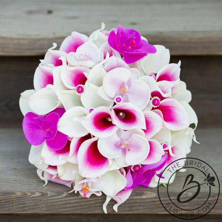 pink calla orchid wedding bouquet, real touch, silk flowers, calla lilies, orchids, pink bridal bouquet, hot pink bouquet, fuschia bouquet, bling bouquet, bouquets with sparkle, picasso calla lilies, large wedding bouquet, fresh looking bouquet, artificial flowers, wedding flowers, alternative bouquets, wedding inspiration, wedding tips, wedding ideas, the bridal flower
