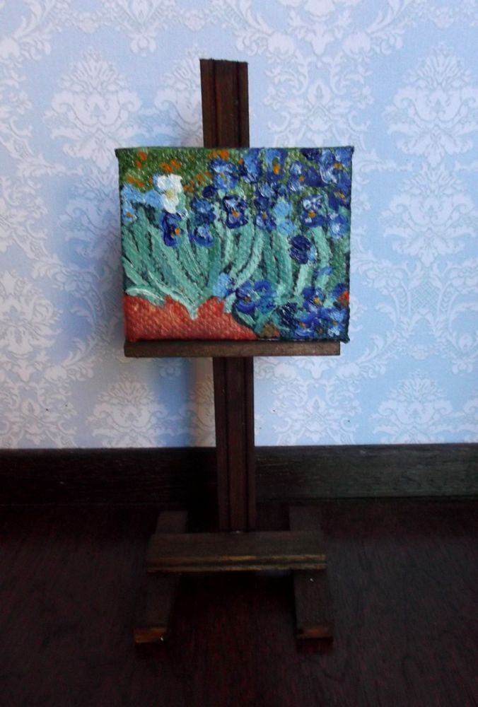 Mini painting Irises by Van Gogh, Oil in canvas artist handmade, 1:12