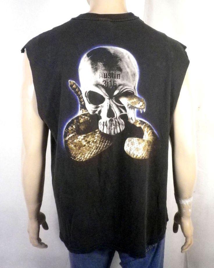 vtg 90s WWF Wrestling Stone Cold Steve Austin T-Shirt 3:16 Rattlesnake WCW sz XL