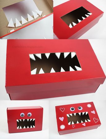 Davis would on this like white on rice! Craftibilities: {{MONSTER}} Valentine's Day Box - School-Classroom IDEA! Free printable tags!