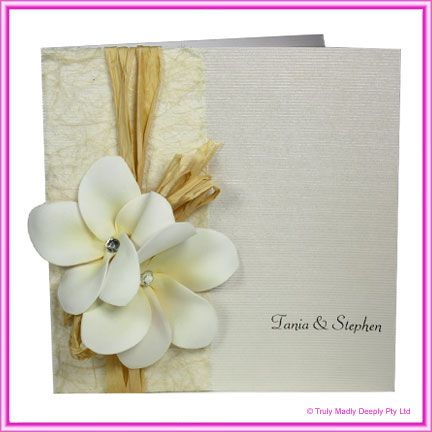 DIY Wedding Invitation - 14.85cm Corduroy with Frangipani & Raffia
