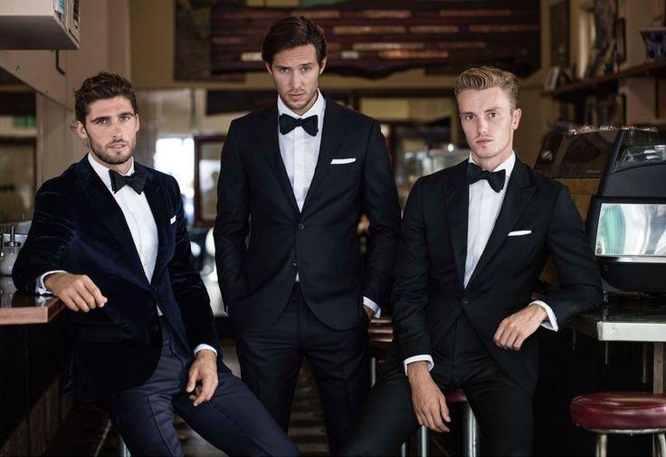 Adriano velvet navy tux jacket; Saunders navy trouser; Blackrock white shirt; Black self-tie bowtie; Callaghan black tux; Keiko black suit; Duccio black bowtie; White pocketchief.