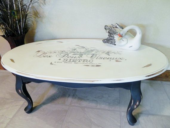 Sold custom made to order french chic stencil topography for Oval farmhouse coffee table