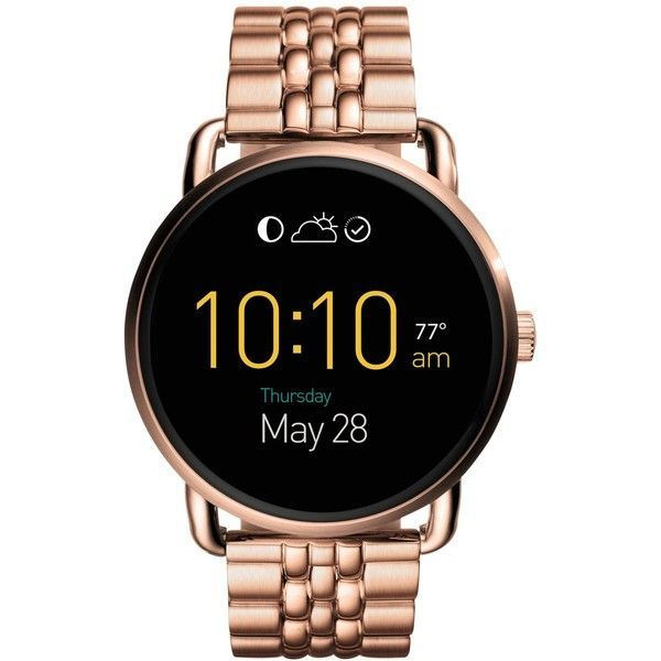 Fossil Women's Q Wander Touchscreen Rose Gold-Tone Stainless Steel... ($315) ❤ liked on Polyvore featuring jewelry, watches, rose gold, stainless steel wrist watch, rose gold tone jewelry, stainless steel jewellery, stainless steel watches and fossil wris #GoldJewelleryWatchAccessories