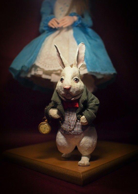 """Alice & the White Rabbit"". Handmade OOAK dolls. #romantic #wonders #doll #OOAK #home #decor #decoration #art #artwork #artdoll #silk #polymer #clay #homemade #handmade #greece #oneofakind #artwork #κουκλα #τεχνη #χειροποίητο #πηλος #πολυμερικος #διακοσμηση #σπιτι #кукла"