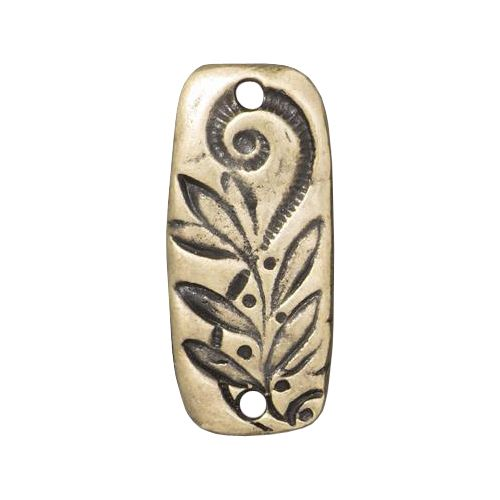 Pewter Jardin Bar Connector Link with a brass oxide finish designed and manufactured by TierraCast. Each connector is 23mm wide x 9mm high and 2mm thick. This is a two sided reversible connector rectangular shaped with rounded edges. This connector has two 2mm holes - one at each end - and is decorated with floral designs on both sides.