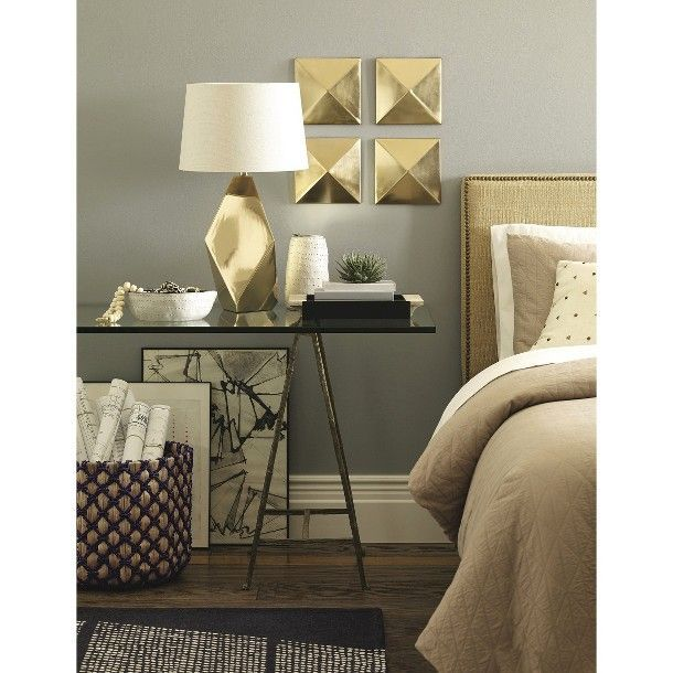 Nate berkus spring 2014 collection love the gold plates on the wall and the gold lamp