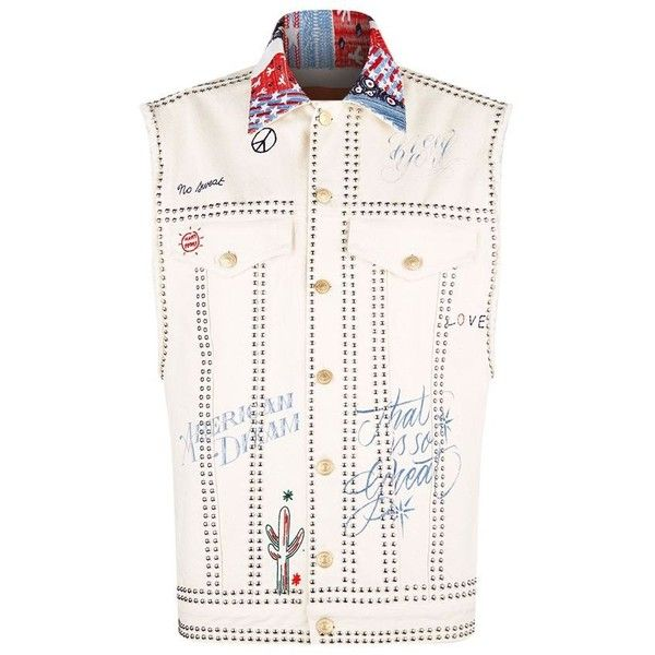 Hilfiger Collection Tattoo Sleeveless Denim Jacket (£770) ❤ liked on Polyvore featuring outerwear, jackets, sleeveless jackets, studded denim jacket, white jean jacket, embroidered jacket and embellished denim jacket