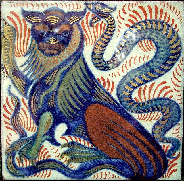 Lion and Snake tile by William De Morgan, 1899-07. Made at his Fulham studio, Sand's End | Birmingham Museum