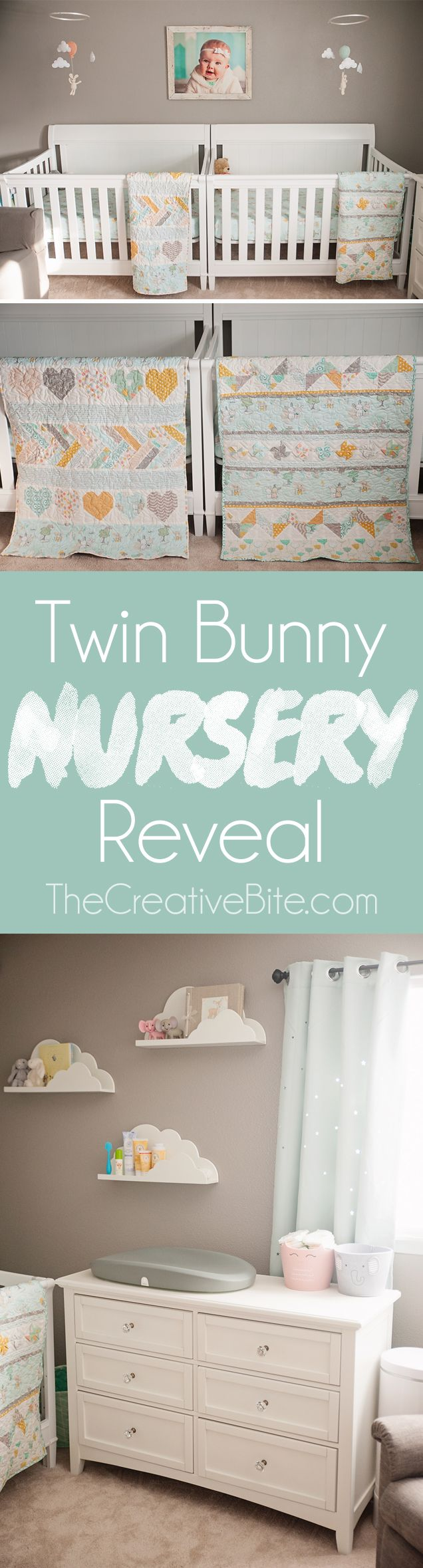 Sharing our Gender Neutral Twin Bunny Nursery Reveal, a beautiful baby room full of soft colors, perfect for our boy & girl twins! #Twins #Nursery #GenderNeutral