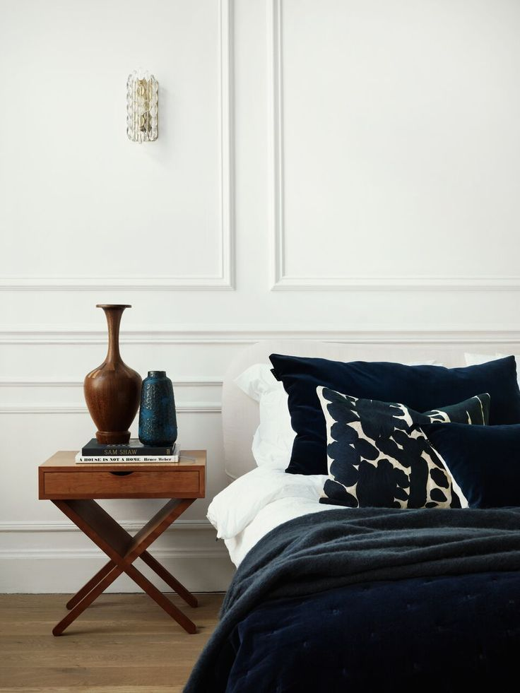 Linum textiles campaign styled by Dusty Deco - bedside table, wood, ceramics details, bedroom, navy, white..