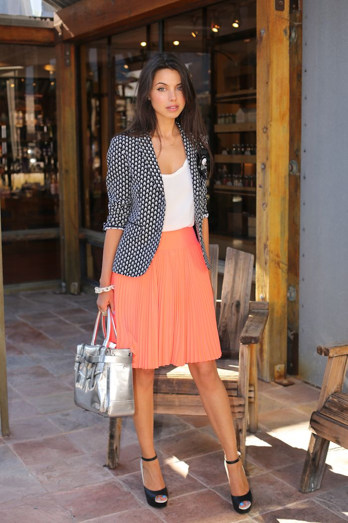 Love the poka dot blazer! So pretty with coral skirt.