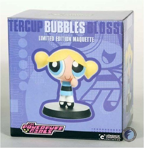 Powerpuff Girls: Bubbles Maquette by DC Direct. $89.95. A Specialty Market Exclusive! The Cartoon Network's Powerpuff Girls is by far one of their most popular programs, attracting a diverse audience that crosses all boundaries! With a theatrical feature film coming July 3rd, Cartoon Network proudly presents this series of animation-style maquettes of the Powerpuff Girls and their arch-nemesis, the evil Mojo Jojo! Each maquette comes fully painted and ready fo...