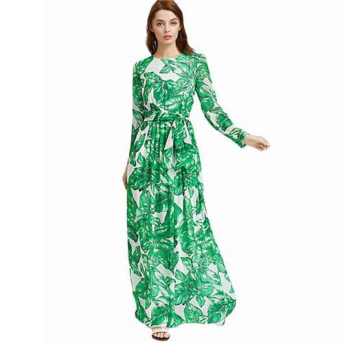 Green Chiffon Maxi Dress Women Palm Leaf Print Casual Beach A-Line Dresses Long Sleeve Tie Waist Elegant Dress Like and share if you think it`s fantastic! Visit us