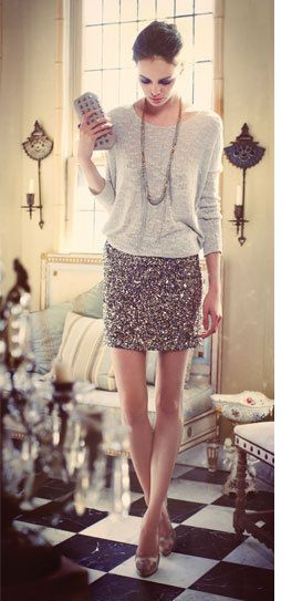 Grey sweater + silver sequined skirt for New Year's Eve.