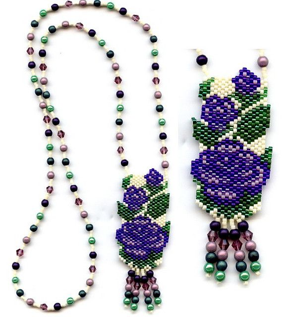 Purple Roses Beaded Necklace