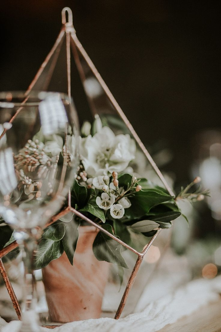 Terrariums Flowers Decor Centrepiece Modern Botanical Copper Geometric Wedding Ideas http://lolarosephotography.com/