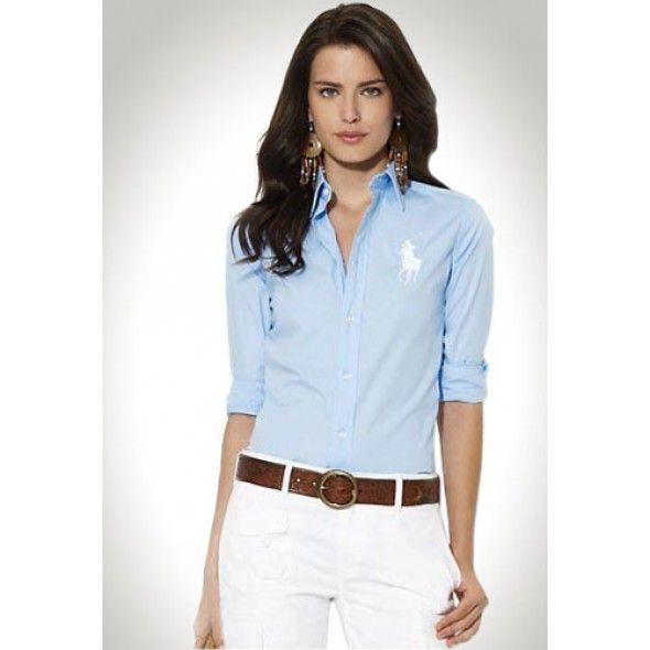 Ralph Lauren Blue Long Sleeved White Logo Shirts http://www.ralph-