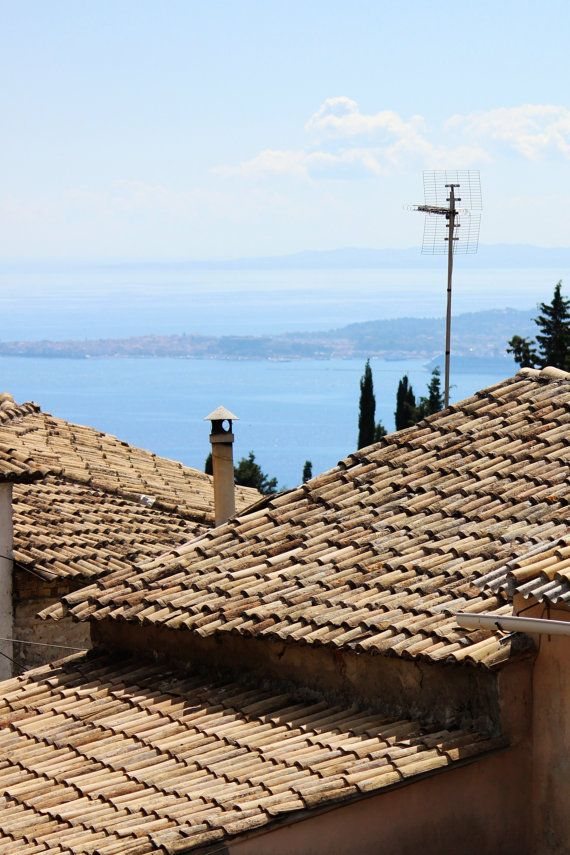 $25 photograph 8x 12 inch Rooftops Corfu Greek Island Village Photograph by EmmabrookeImages