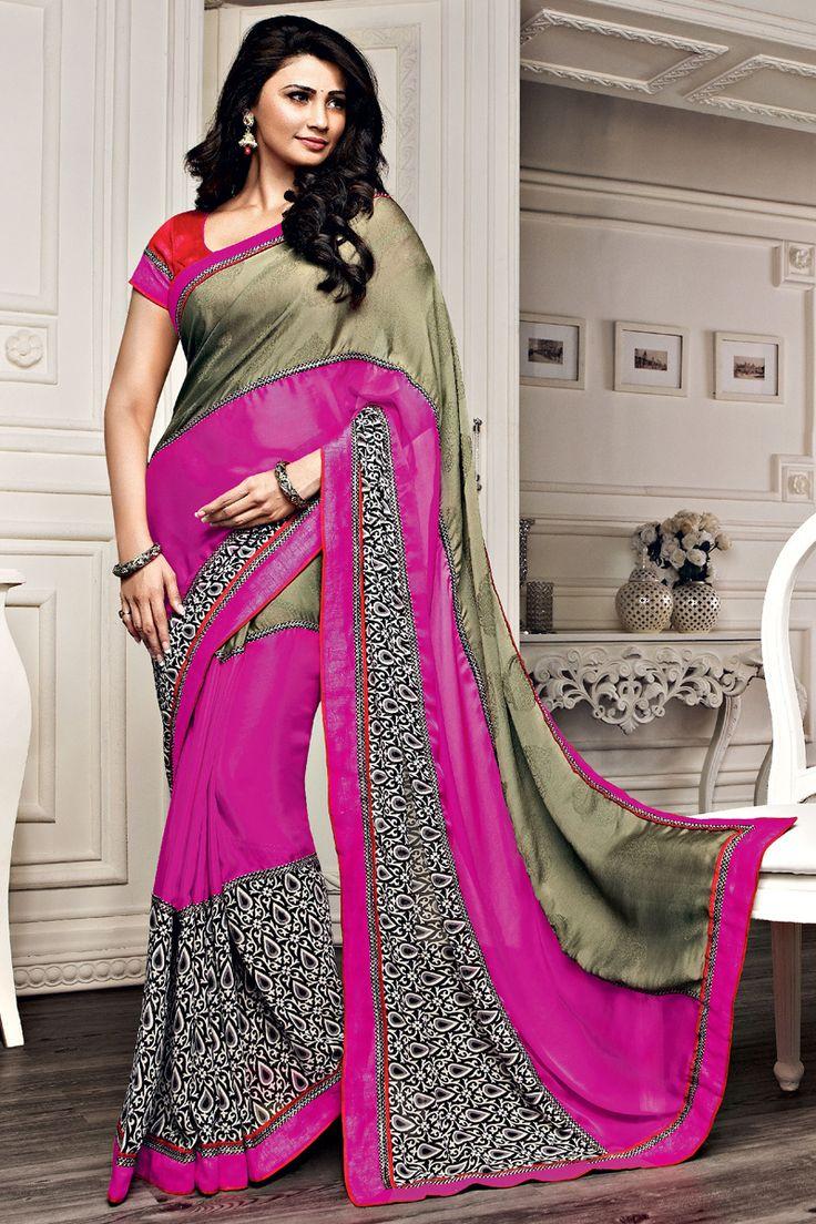 Pink Color Designer Printed Saree Online From Hdbazaar.