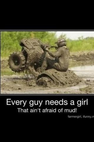 Being a tomboy and driving my four wheeler in the mud (;