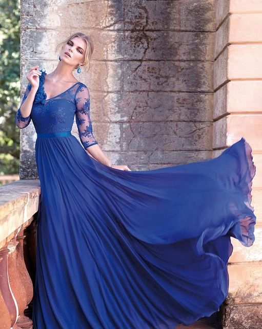>> Click to Buy << Royal Blue Chiffon Lace V Neck Simple Chiffon A Line Three Quarter Sleeves Formal Long Evening Dresses  #Affiliate