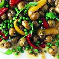 Pea, braised potato and capsicum salad with caper and anchovy dressing ...